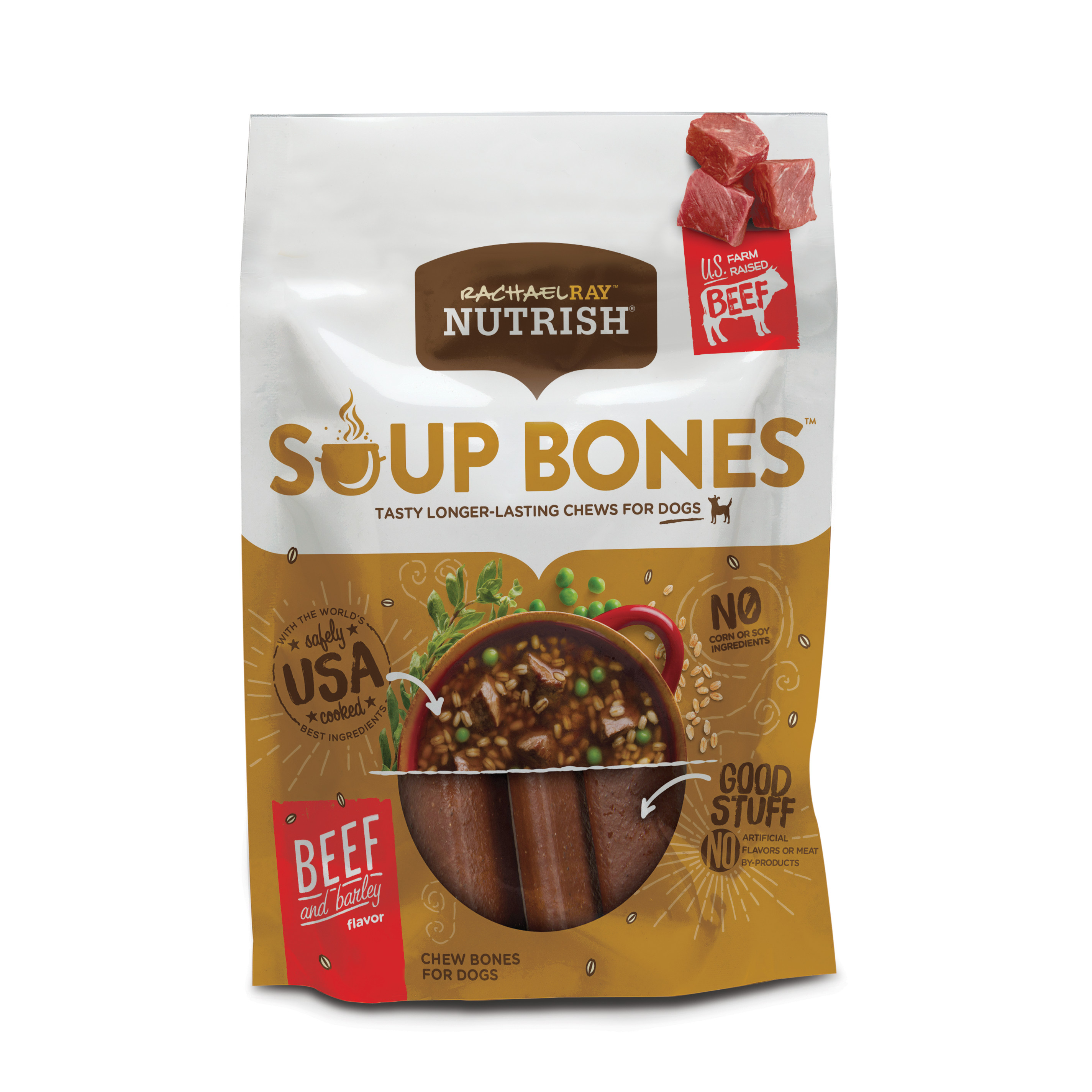 Rachael Ray Nutrish Soup Bones Dog Treats, Beef & Barley Flavor, 6 count