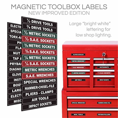 Adjustable Magnetic Toolbox Labels fits all Craftsman, Snap-on, Mac, Matco & Cornwell steel tool chest. Now you can organize all your tool box drawers, never search every toolbox drawer for a tool aga