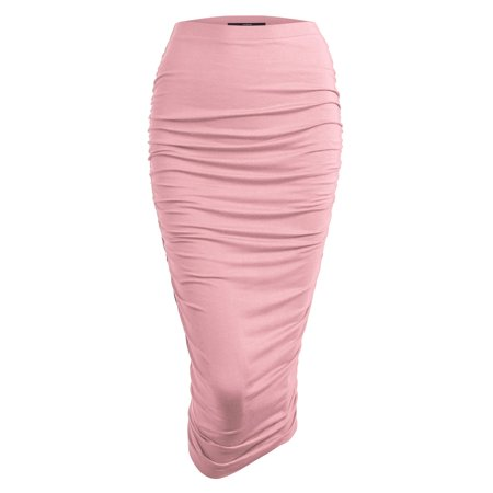 Vader Side Skirts - MBJ WB1147 Womens Elegant High Waist Pencil Skirt with Side Shirring XXXL PINK