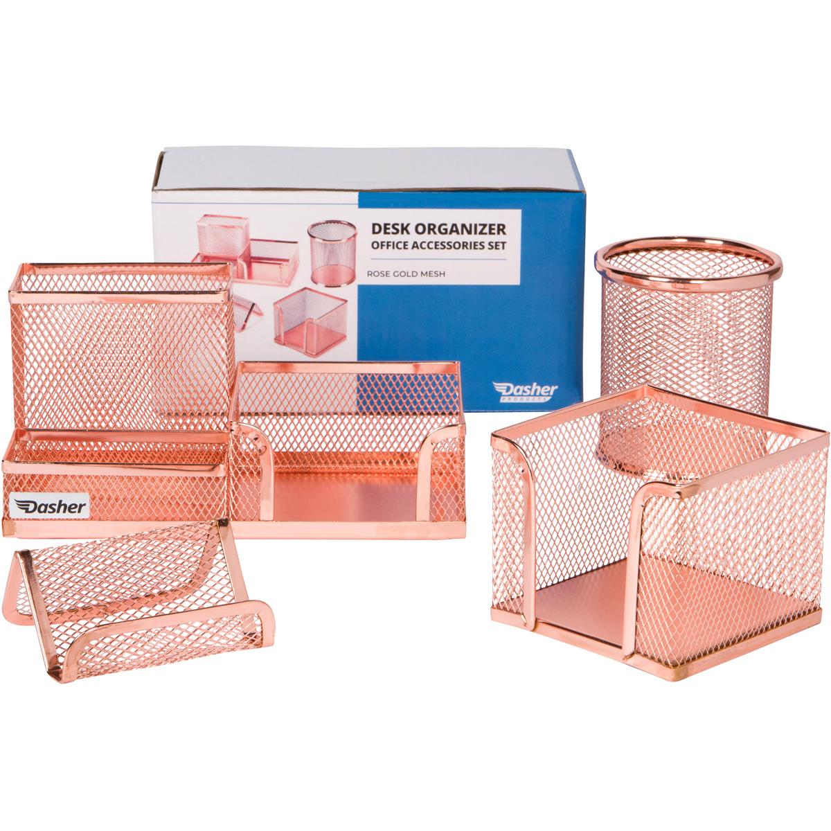 Groovy Desk Organizer Office Accessories Set Set Of 4 Rose Gold Desk Accessories Mesh Desk Set Includes Pen Case Sticky Note Holder Business Card Tray Home Interior And Landscaping Sapresignezvosmurscom