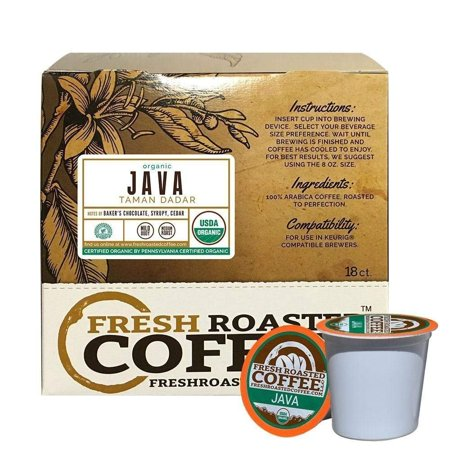 Fresh Roasted Coffee LLC, Organic Java Taman Dadar Coffee Pods, Medium Roast, Rainforest Alliance Certified, USDA Organic, Capsules Compatible with 1.0 & 2.0 Single-Serve Brewers, 18 Count