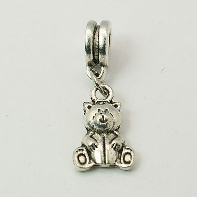 Antique Silver Finish Teddy Bear Dangle Charm Bead. Compatible With Most Pandora Style Charm Bracelets.