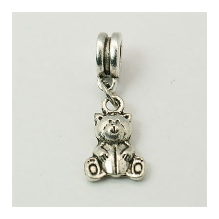 Sterling Silver Chicago Bears Charm - Antique Silver Finish Teddy Bear Dangle Charm Bead. Compatible With Most Pandora Style Charm Bracelets.