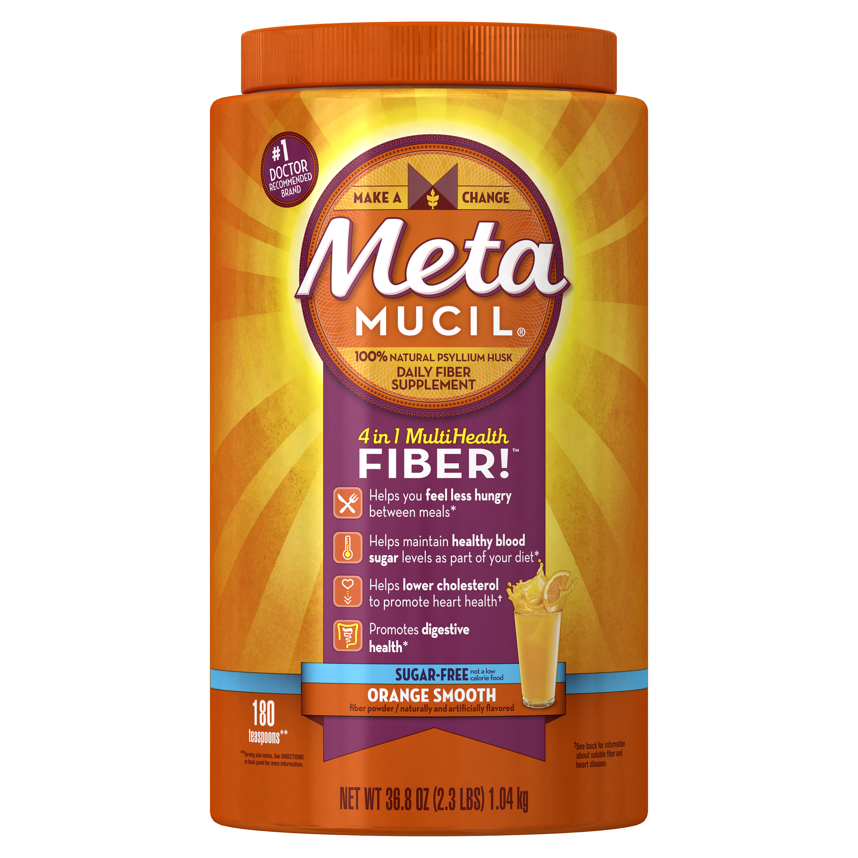Metamucil Multi-Health Fiber Supplement Powder, 180 Servings, Sugar Free Orange