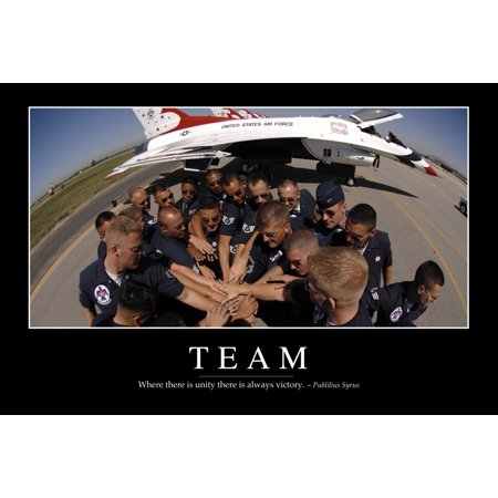 Team   Inspirational Quote And Motivational Poster It Reads Where There Is Unity There Is Always Victory   Publilius Syrus Poster Print