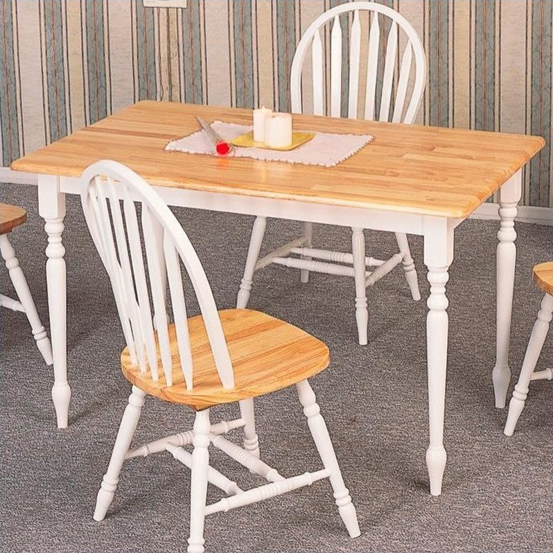 Coaster Farmhouse Damen Rectangular Dining Table In Warm Natural And White  Wood