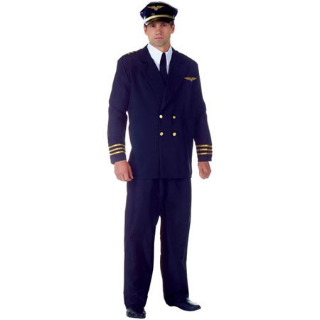 Airline Pilot Halloween Costume (Airline Captain Black Adult Halloween Costume)