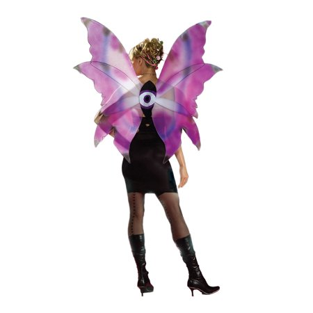Adult Womens Large Purple & Blue Fairy Fairie Wings Butterfly Bug Costume - Blue Fairy Wings Costume