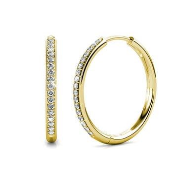 Cate & Chloe Bianca 18k White Gold Hoop Earrings