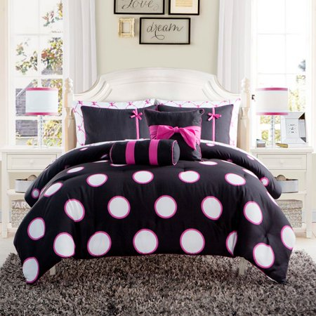 Decorative Painted Bed Set - VCNY Home Sophie Polka Dot 8/10 Piece Bed in a Bag Comforter Set, Sheet Set and Decorative Pillows Included