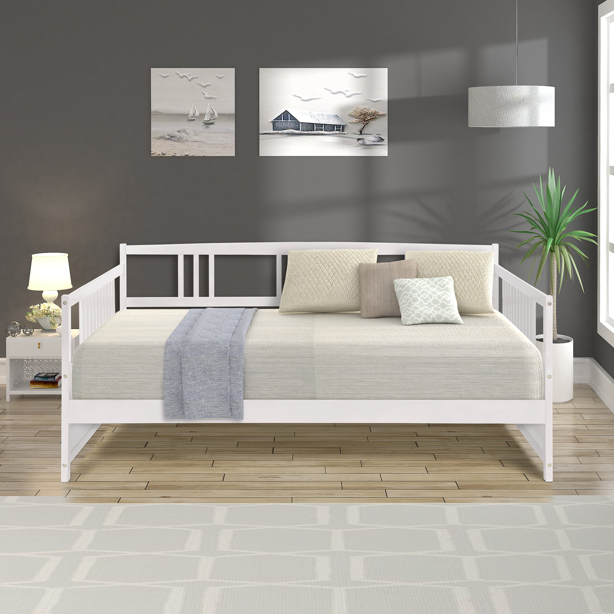 Image of: Full Size Wooden Daybed Frame Urhomepro Full Daybed Frame Heavy Duty Solid Wood Daybed With Wooden Slats For Adults Teens Kids Modern Bed Sofa For Living Room Guest Room 250 Lbs Capacity