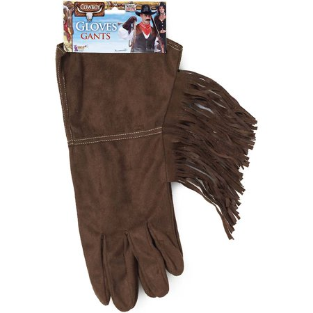 Adults Brown Steampunk Cowboy Biker Costume Faux Leather Fringed Gloves