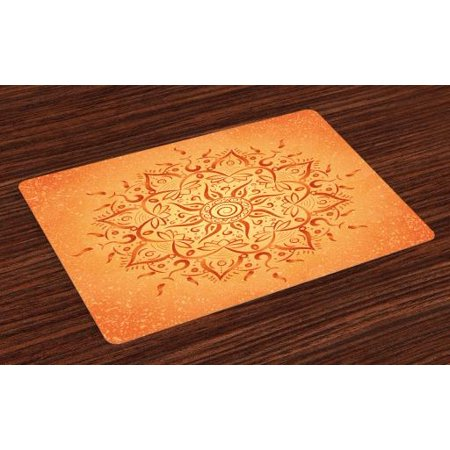 Lotus Placemats Set of 4 African Tribal Ethnic Sun Pattern with Ombre Effect Primitive Figures Icons Culture Print, Washable Fabric Place Mats for Dining Room Kitchen Table Decor,Orange, by Ambesonne