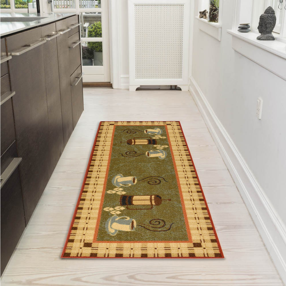 "Ottomanson Siesta Collection Kitchen Coffee Cups Design Non-Slip Runner Rug, Dark Olive Green, 20"" X 59"""