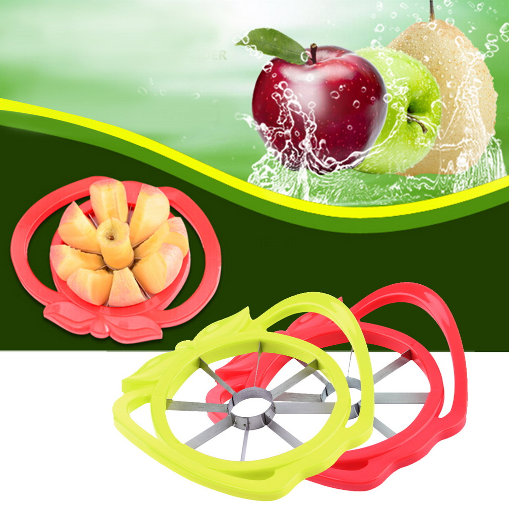 Apple Slicer Cutter Corer Divider Plastic Stainless Steel Kitchen Fruit Tool by