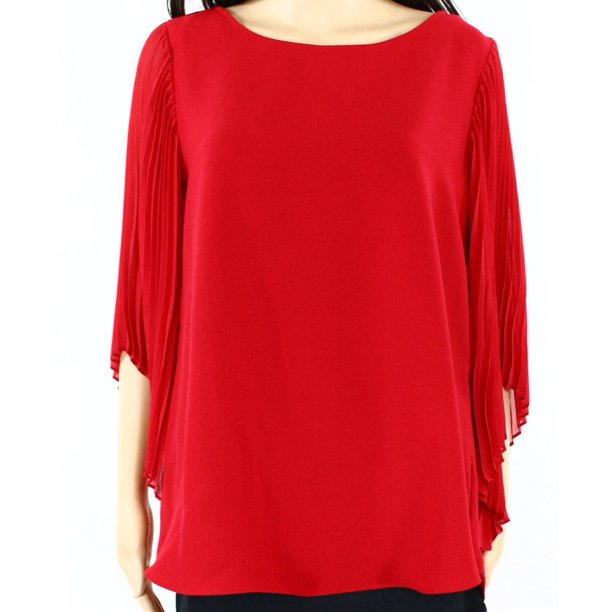 Alfani NEW Amore Red Womens Size 6 Pleated-Sleeve Scoop-Neck Blouse