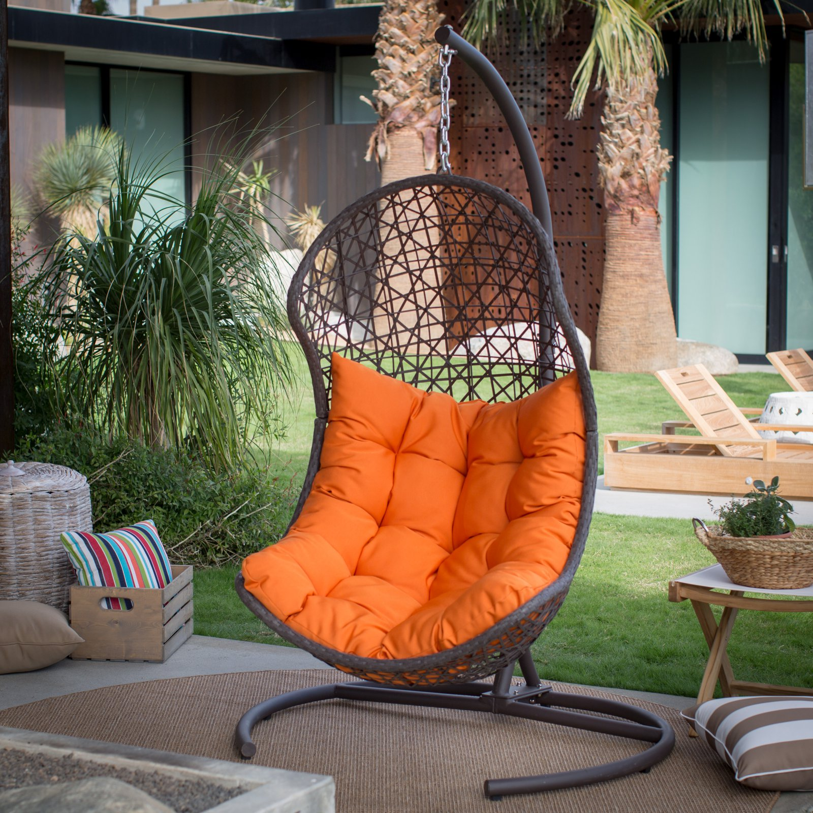 Island Bay Cocos Resin Wicker Hanging Egg Chair with Cushion and Stand
