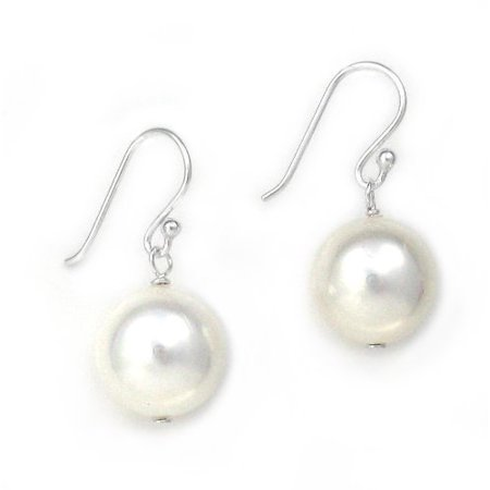 Sterling Silver Shell Pearl Drop Earrings, White