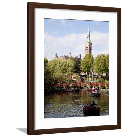 Tivoli Gardens and City Hall Clock Tower, Copenhagen, Denmark, Scandinavia, Europe Framed Print Wall Art By Frank Fell