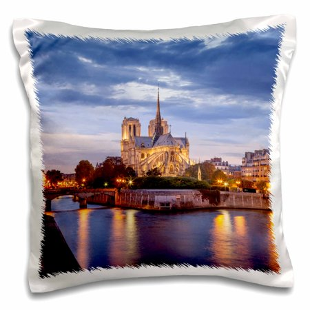 - 3dRose Cathedral Notre Dame and River Seine, Paris, France., Pillow Case, 16 by 16-inch