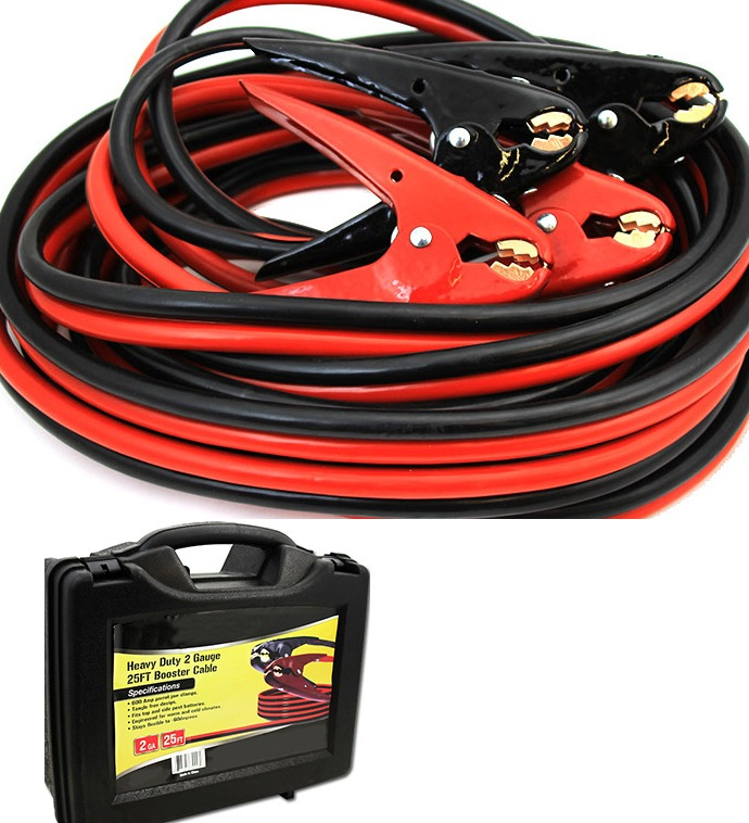 25FT 2 Gauge Power Jumper Cable Starter Booster Cable, with Case