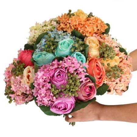 Grtsunsea 1 Bouquet Artificial Rose Silk Hydrangea Flowers Bridal Home Party Wedding Decor ()