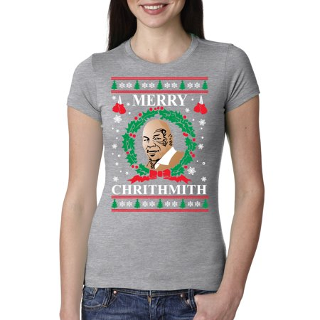 42687ec9378 Wild Bobby - Merry Chrithmith Mike Tyson Womens Ugly Christmas Junior Fit  Graphic Shirt - Walmart