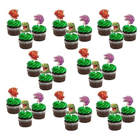 Dinosaur Party Cupcake Toppers Picks 24 ct - Dinosaur Cupcake Toppers