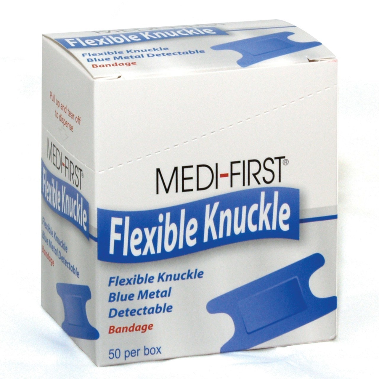 Medique Medi-First Blue Metal Detectable Bandages, Woven Knuckle - Box of 50