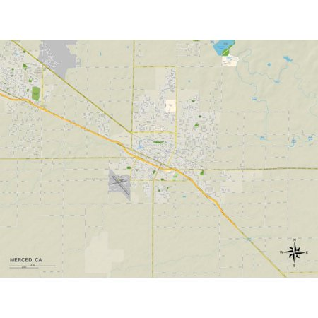 Political Map of Merced, CA Print Wall Art