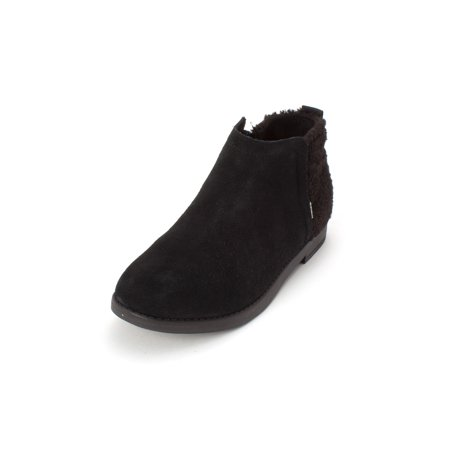Toms Youth Size (Kids Toms Girls Dela Leather Ankle Zipper Chukka, Black Suede, Size 5.5)