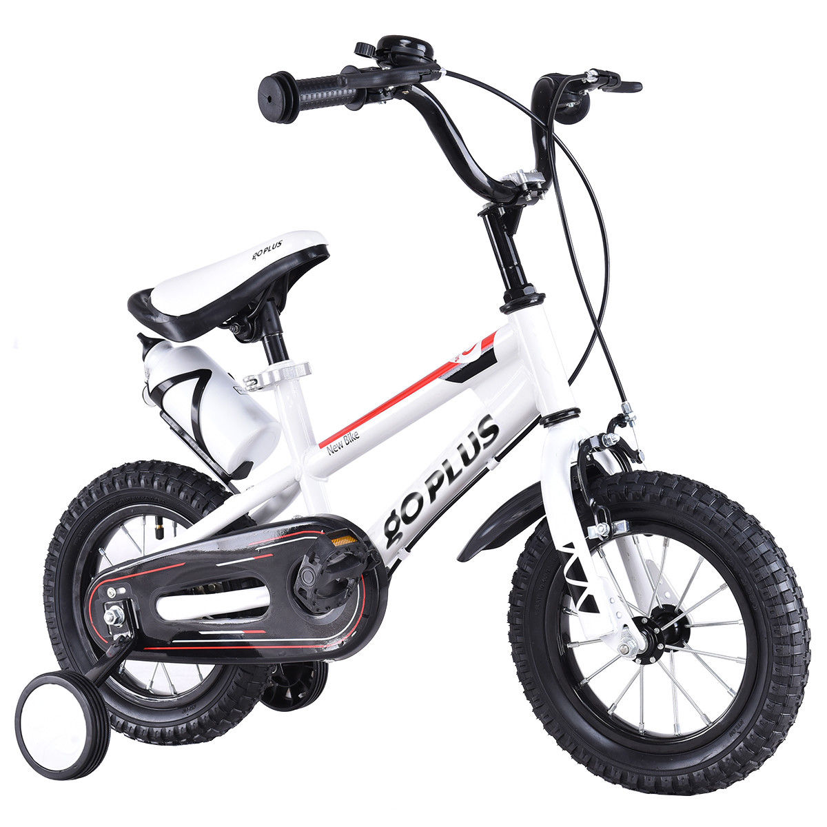 "GHP 16"" White Metal Frame Kids Bicycle with Pneumatic Rubber Tires Training Wheels"