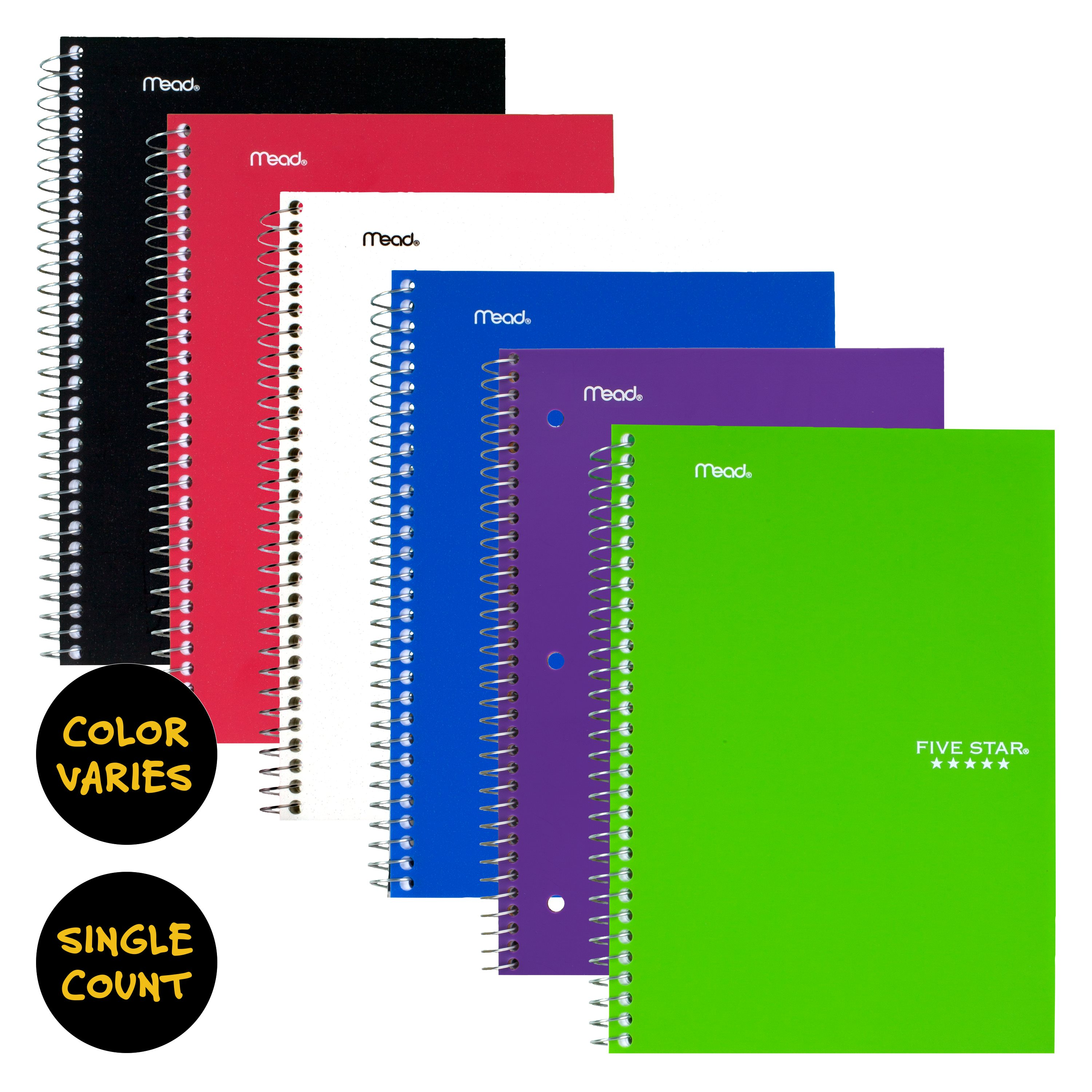 "Five Star Wirebound Notebook, 2 Subject, College Ruled, 6"" x 9 1/2"", Assorted Colors (06180)"