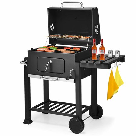 Slide In Outdoor Barbecue Grill (Costway Charcoal Grill Barbecue BBQ Grill Outdoor Patio Backyard Cooking Wheels Portable )