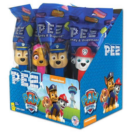 PEZ Candy Paw Patrol Assortment, candy dispenser plus 2 rolls of assorted fruit candy, box of 12