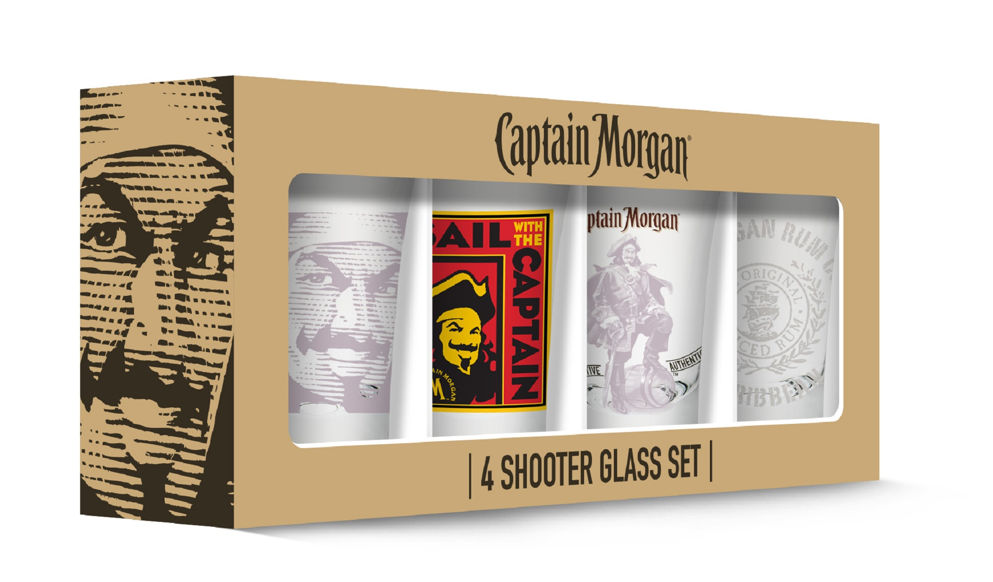Captain Morgan Shot Glasses set of 4 by PB Licensing USA