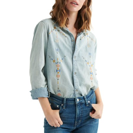 Embroidered Chambray Button Front Shirt Embroidered Button Front Shirt