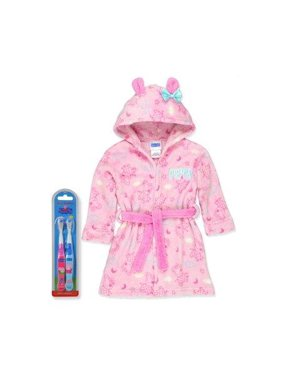 Peppa Pig Girls Hooded Plush Fleece Bathrobe Robe Ears Bow with Tooth Brush, Peppa Pig, Size: 5T