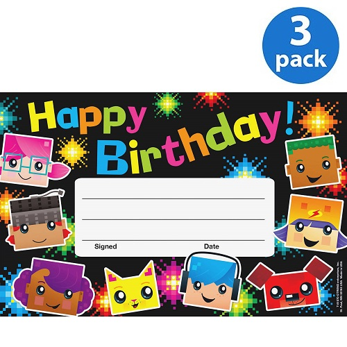 (3 Pack) Trend, TEP81070, Birthday BlockStars Recognition Awards, 30 / Pack, Multicolor