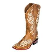 Ferrini Western Boots Women Wild Flower Square Antique Saddle 81293-15