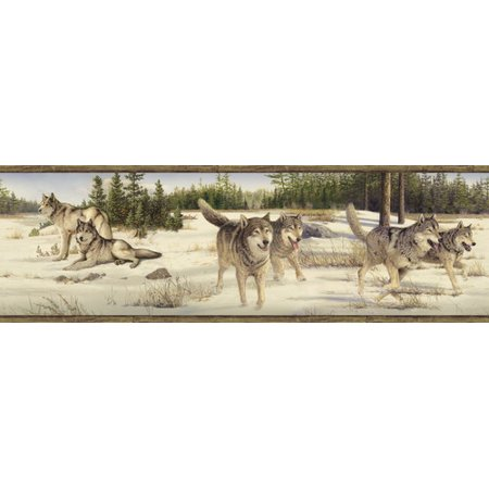 Brewster Home Fashions Outdoors Shiloh Wintry Wolf Portrait 15' x 8'' Wildlife 3D Embossed Border Wallpaper for $<!---->