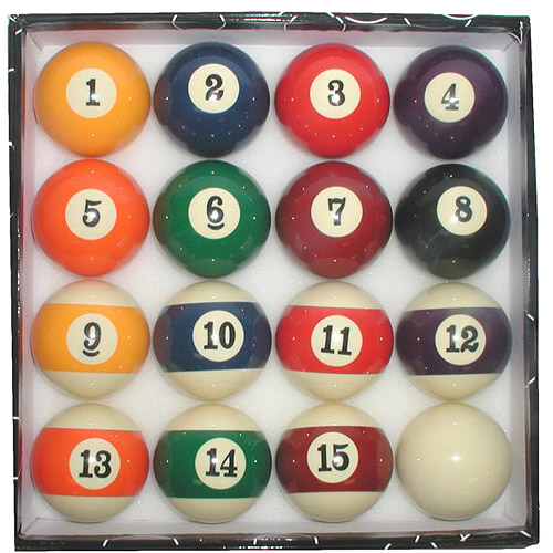 Billiard Pool Ball Set with Big Number Display
