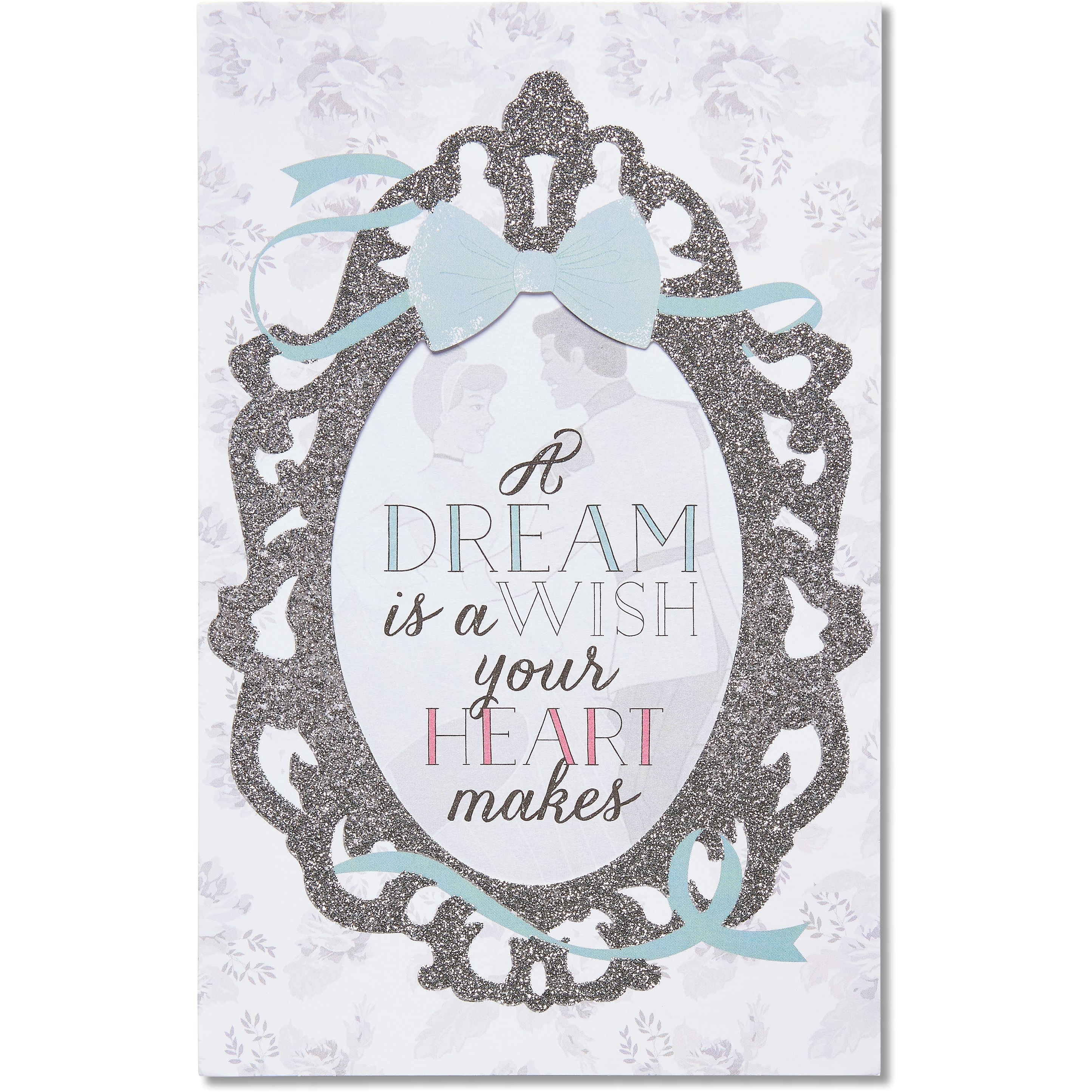 American Greetings Cinderella Wedding Card with Glitter