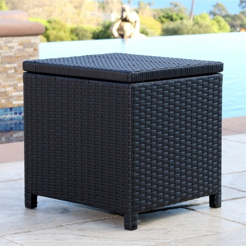 Abbyson Living Carlsbad Outdoor Wicker Storage Ottoman In Black