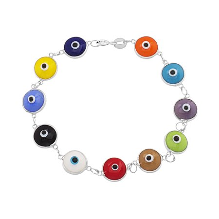 Multicolored Glass Evil Eye Bracelet in Sterling