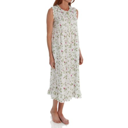 Women's La Cera 1277G 100% Cotton Woven Sleeveless Nightgown