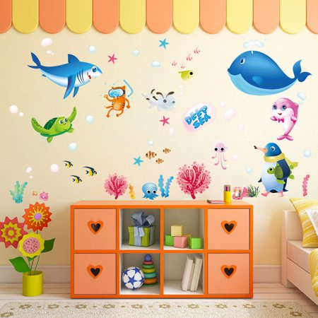 Colorful Fish Shark Ocean Wall Stickers Vinyl Decal Mural Kid's Room Decor (Shrek Wall Decals)