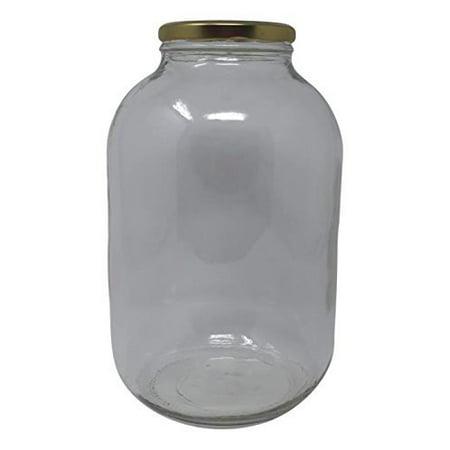Wide Mouth Glass Jug Mason Jar with Gold Cap Metal Lug Lid/Ferment & Store Kombucha Tea or Kefir/Use for Canning, Storing, Pickling & Preserving Dishwasher Safe, Airtight Liner Seal, 1 gallon (1) ()