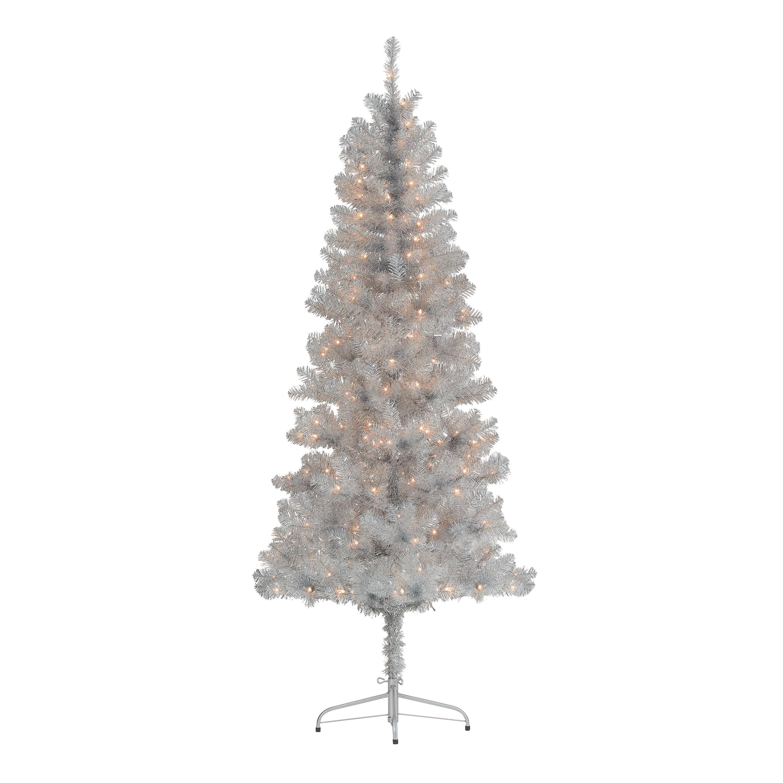 Holiday Time Pre Lit Silver Tinsel Christmas Tree 6 5 Clear Walmart Com Walmart Com