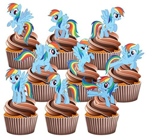 12 My Little Pony Rainbow Dash Edible Cup Cake Toppers Birthday